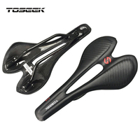 TOSEEK Full Carbon Fiber Bike Saddle MTB Road Bike EVA Seat 271*143mm Leather Cover Pad For Road Bike Racing Bicycle Saddle