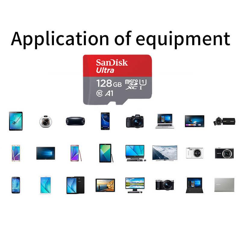 Двойной Флеш-накопитель SanDisk 100% Оригинальный Micro SD Card 64 Гб 100 МБ/с. 16 Гб оперативной памяти, 32 Гб встроенной памяти, 128 ГБ 256 200 400 U1 Class 10 карта памяти microsd флэш-карты памяти