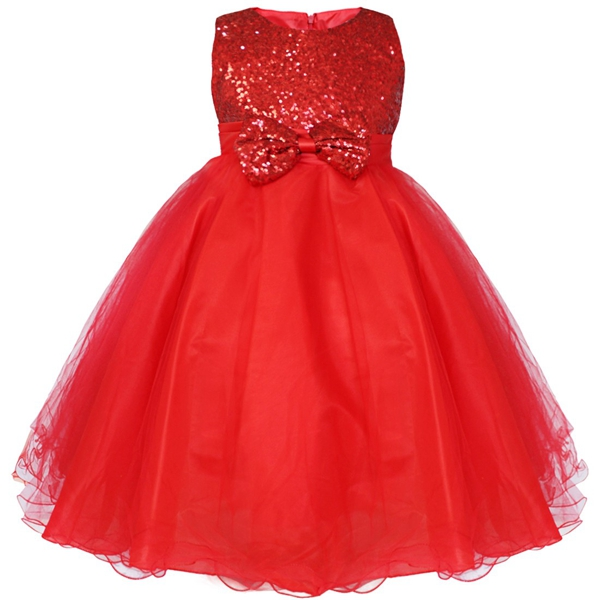 Детское платье до колена с блестками и цветочным узором для девочек возрастом от 2 до 14 лет Детские Вечерние платья на свадьбу, бальное платье, платье принцессы на выпускной, торжественное платье для девочек - Цвет: Red