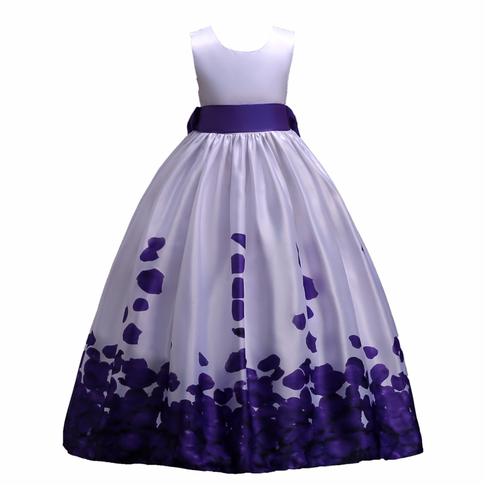 Flower Girl Dresses Long Dress Aline Gown Flower Tulle Bow First Holy Communion Dresses for Girls 4-12Years Vestido Daminha Baby 2018 purple v neck bow pearls flower lace baby girls dresses for wedding beading sash first communion dress girl prom party gown