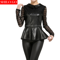 Plus Size Fashion Women High Quality Sheep Skin O Neck Stitching Embroidery Lace Sexy Leather Genuine