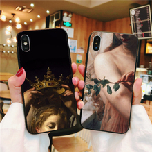 цена на Art Paintings The Birth Of Venus Cover For iPhone 6 6S 7 8 Plus X XS MAX XR 5 5S black Soft TPU Silicone Back Cover Phone Case