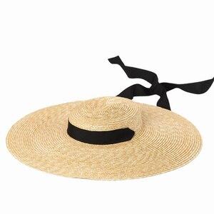 Image 5 - 2019 frauen Natürliche Bast Stroh Hut Band Krawatte 15 cm Krempe Hut Derby Strand Sonnenhut Kappe Sommer Breite Krempe UV Schützen Hüte Weibliche R6