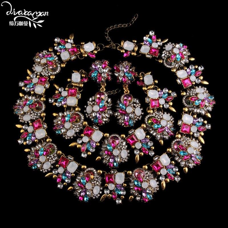 Dvacaman Women's Wedding Bridal Jewelry Sets Crystal Statement NecklaceEarringsBracelet Sets Bijoux Femme Q7