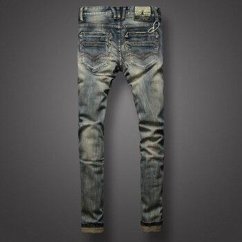 Italian Style Retro Design Mens Jeans Slim Fit Denim Buttons Pants Brand Jeans High Quality Fashion Streetwear Classic Jeans Men