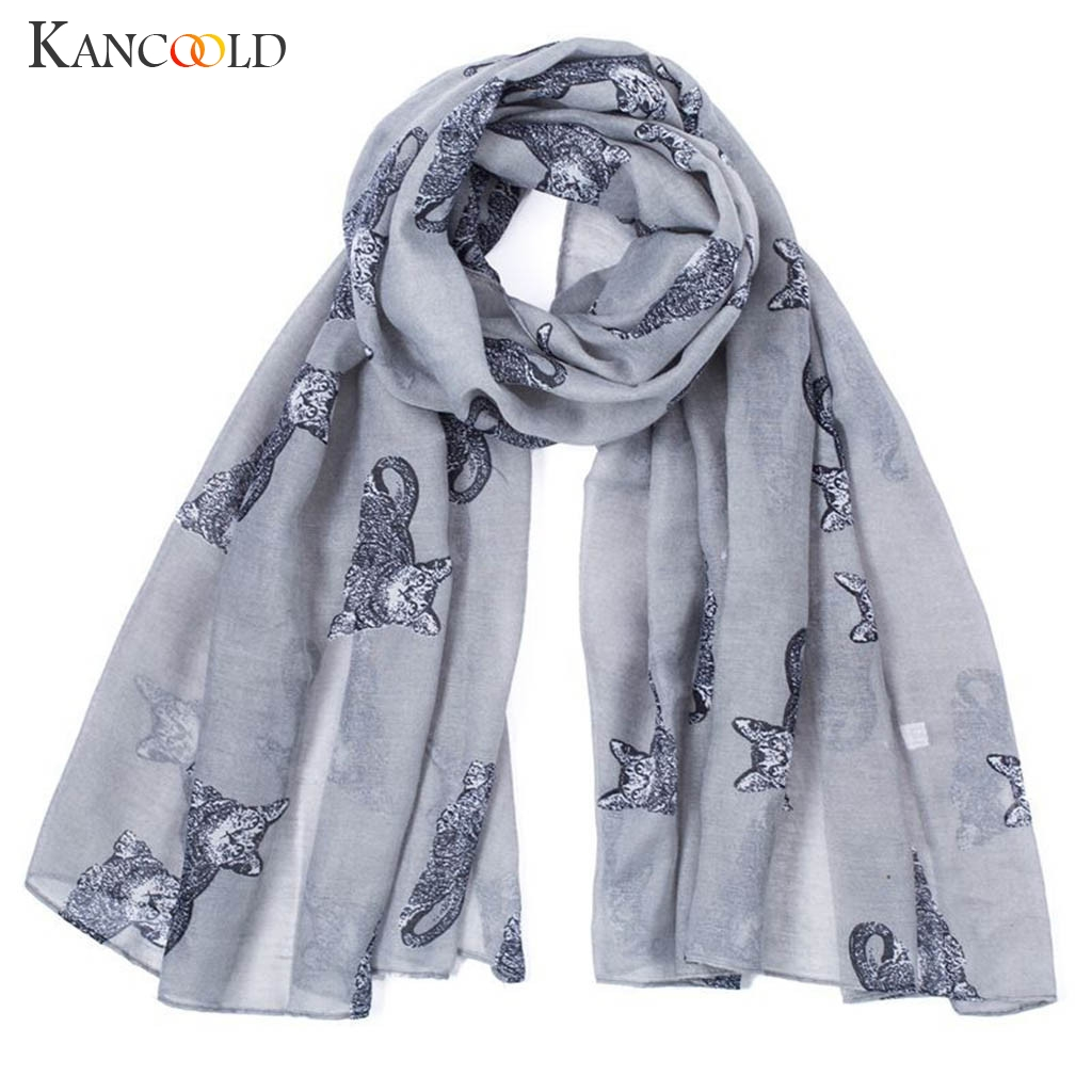 KANCOOLD   Scarf   women Winter Lady Warm Fashion Cartoon Cat Pattern Cute   Scarf     Wrap   Shawl high quality   Scarf   Women 2018Nov22