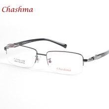 1dff6fe23 Chashma Marca Homens De Titânio Leve Óculos Metade de Quadro Grande Óculos  Armações de Óculos de Olho Lentes Ópticas para Grande.