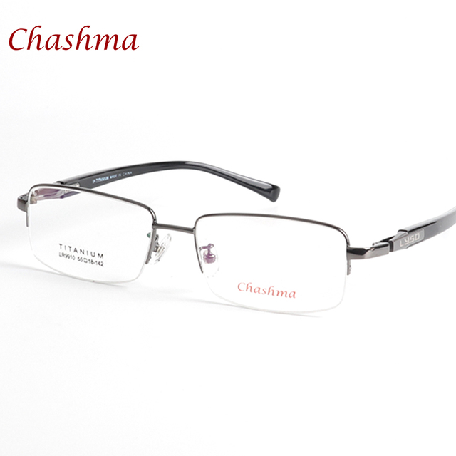 078b66e26e Chashma Brand Titanium Men Light Eyeglasses Half Frame Wide Spectacles Eye  Glasses Frames Optical Lenses for Big Face