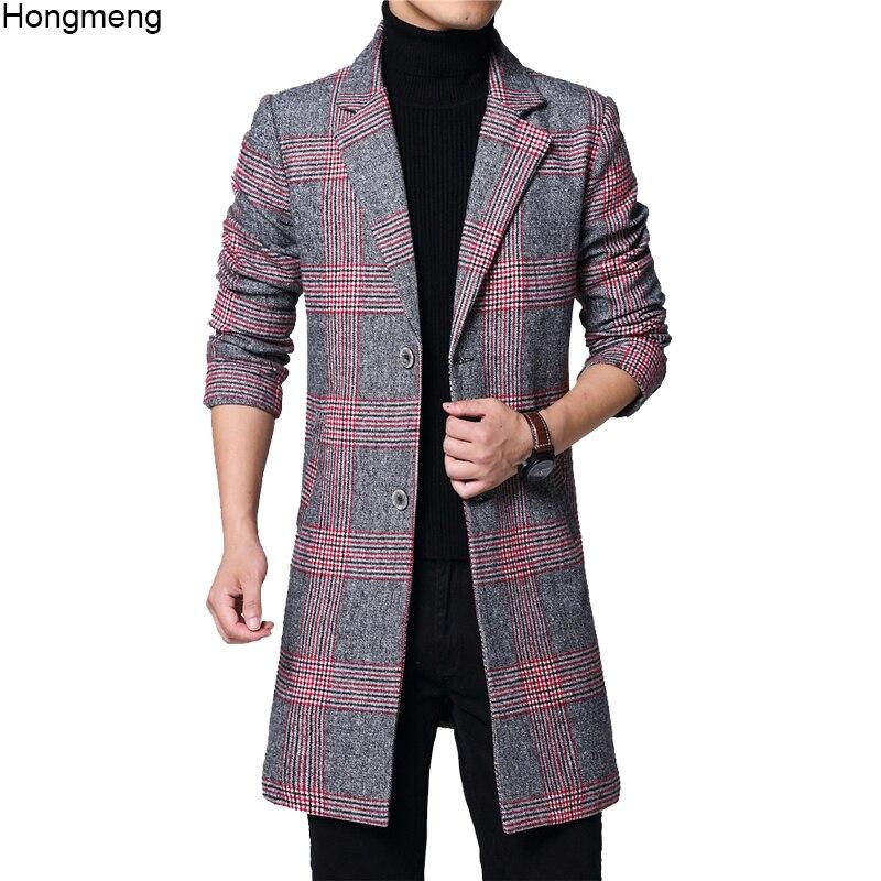 Long-Coat Pocket Plaid Woolen Winter Mens Red Gray No Full M-6XL 18novw4 Drop-Ship Two-Buttons