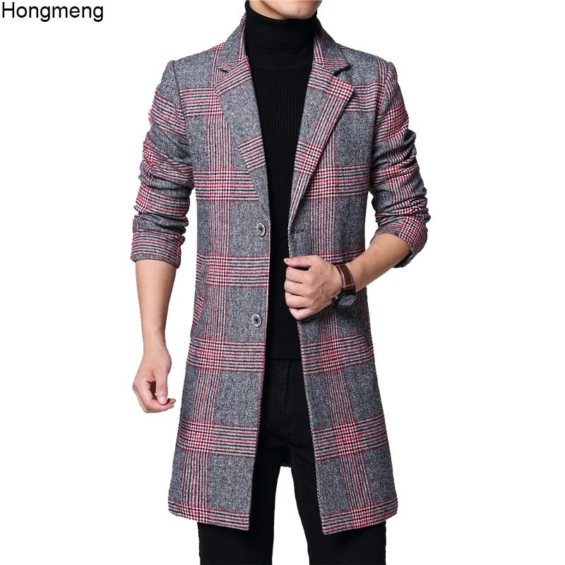 Mens long coat winter woolen melton overcoat plaid red gray two buttons full lining long sleeve M-6XL pocket 18NovW4 drop ship