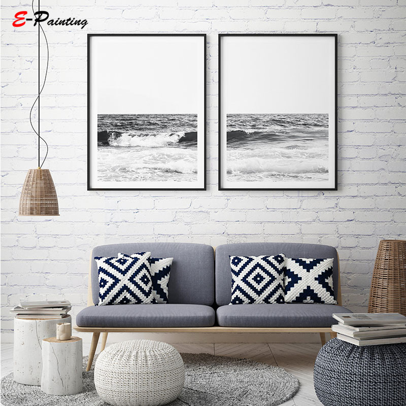 Us 3 75 25 Off Modern Canvas Wall Art Ocean Wave Print Beach House Decor Coastal Print Black And White Art Water Photography Poster Picture In