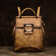 Женский рюкзак из натуральной воловьей кожи, винтажный женский рюкзак из натуральной кожи на плечо, школьные сумки для девочек-подростков, дорожная сумка
