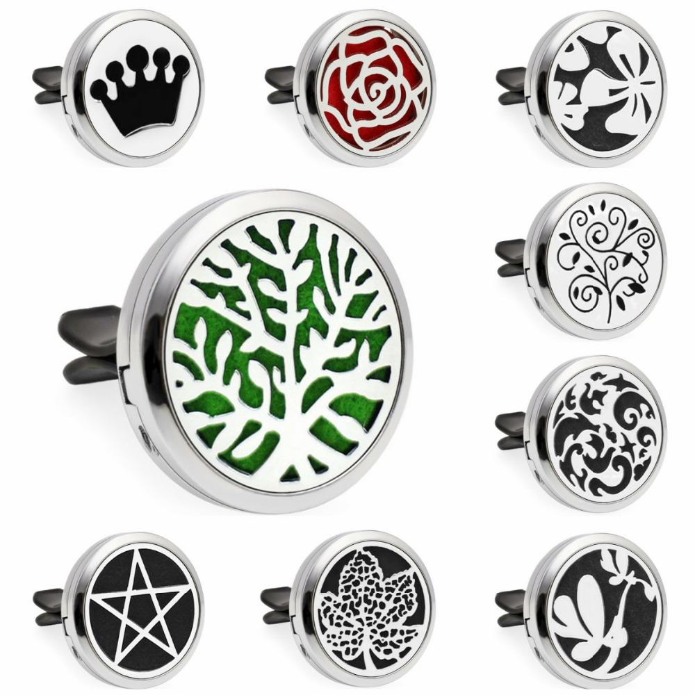 S4 Tree Of life 30mm Magnetic Essential Oil Diffuser Locket Car Vent Clip Aromatherapy Perfume Locket 10pcs Pads Drop Shipping