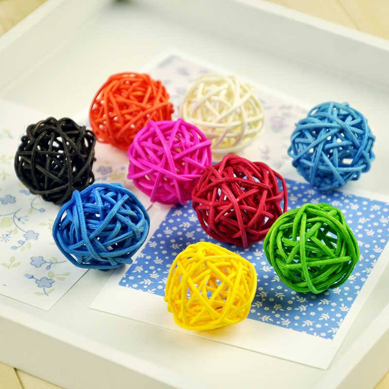 7pcs/lot Colorful Rattan Wicker Balls Baby Kids Toys Ball for Photo Studio Accessories DIY Decoration Photography Props Ornament