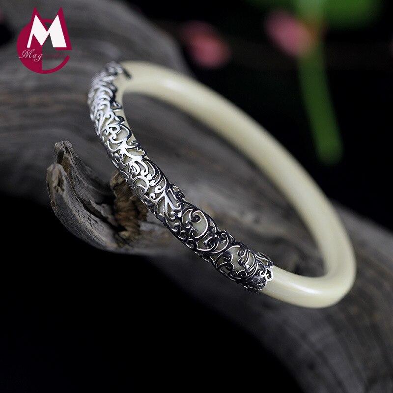 Handmade Flower Resin Copal Bracelet For Girls 100% 925 Sterling Silver Bracelets Bangles For Women Vintage Fine Jewelry SB05