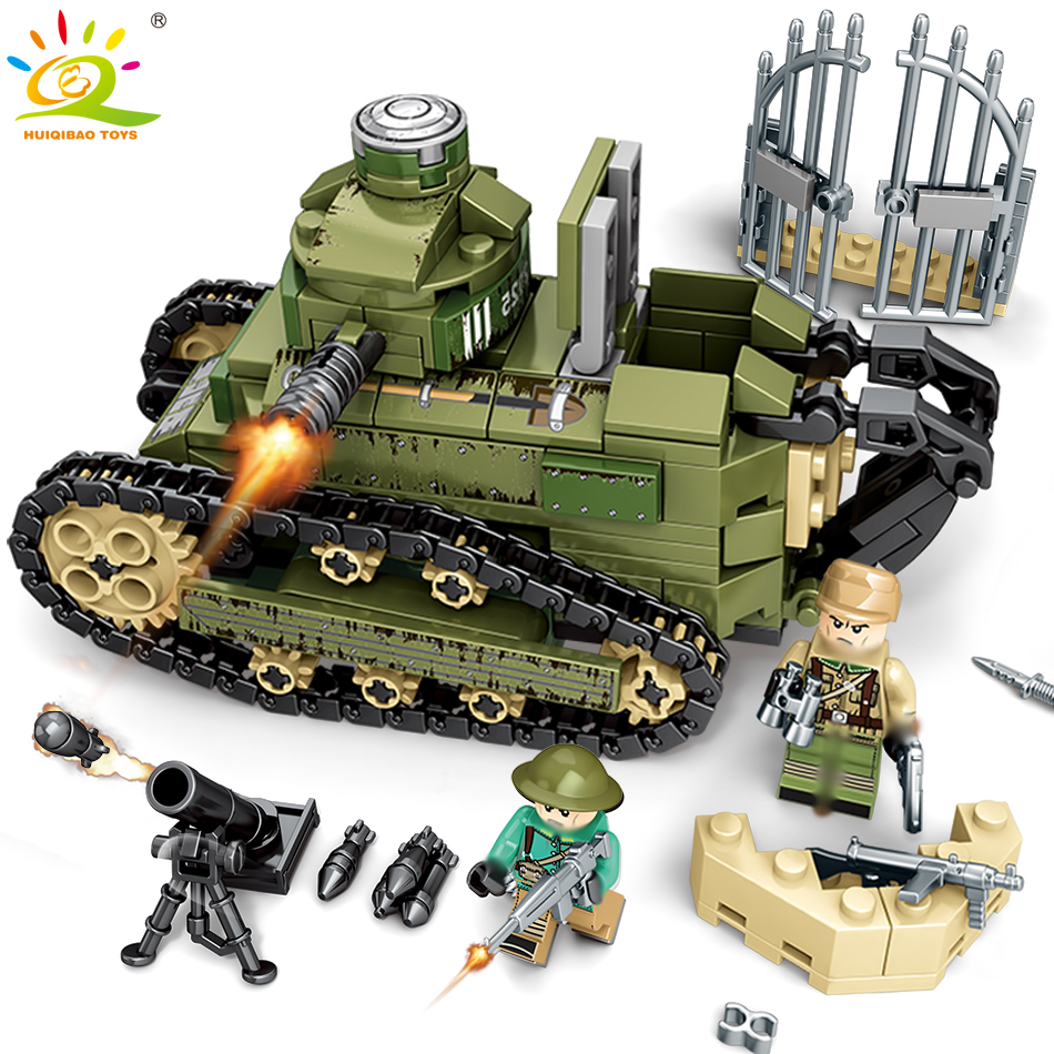 368PCS WW2 Military Renault FT17 Tank Building Block compatible legoing Army Soldier Weapon Bricks Educational Toy for Children