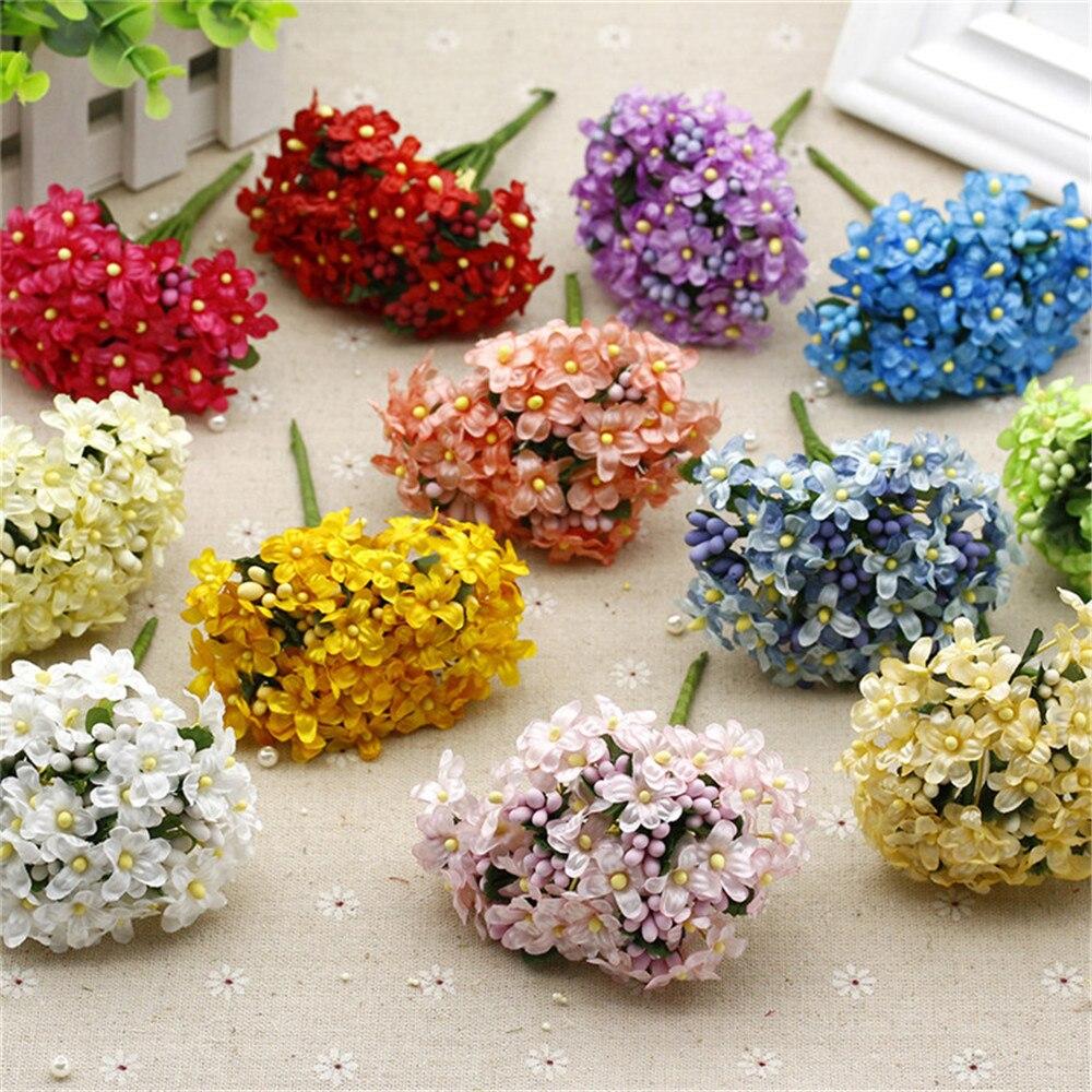 12 шт. мини Stamen шелк искусственный цветок сливы букет для Свадебные украшения DIY декоративные гирлянды поддельные цветы