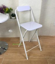 Modern Folding bar stool High foot Chair backrest Seat chair For Man/Woman metal pipe Wine pub stool Steel + high density board(China)
