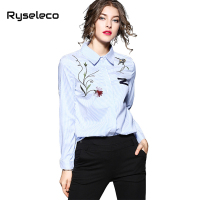 Ryseleco New Fashion Office Lady Long Sleeve Slim Shirts Cotton Blend Casual Elegant Floral Embroidery Tops
