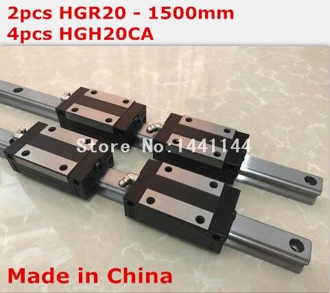 HG linear guide 2pcs HGR20 - 1500mm + 4pcs HGH20CA linear block carriage CNC parts салфетки hi gear hg 5585