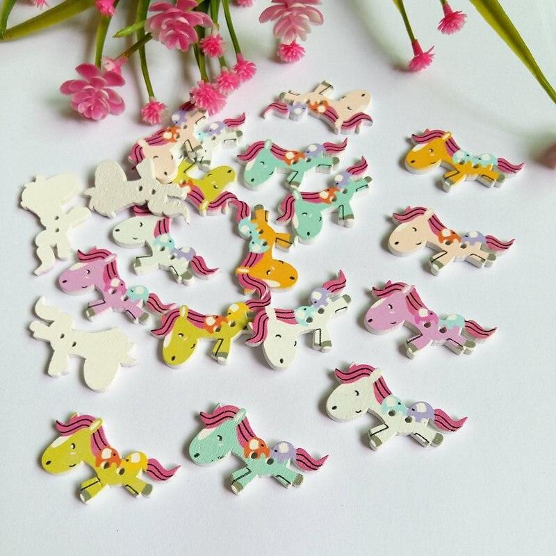 40PCs Mixed Color horse Wooden Button 2 Holes Handmade Scrapbooking Craft Sewing Supplies Handicrafts Accessories