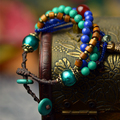 2017 fashion vintage turquoise pendant wooden beads rope chain handmade jewelry wrap charm Bracelets for women