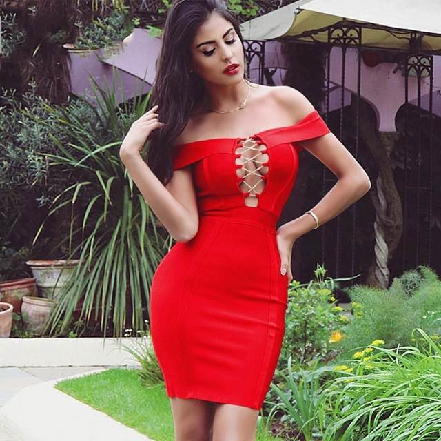 Hot Sell Off the Shoulder Women Bandage Dress Red Black Summer Mini Dresses Sexy Slash Hollow Out Celebrity Party Club Vestido