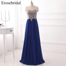 Royal Blue Chiffon Evening Dress 2019 Erosebridal Formal Women Wear Gold Appliques Bodice Cheap Price Vestido De Festa