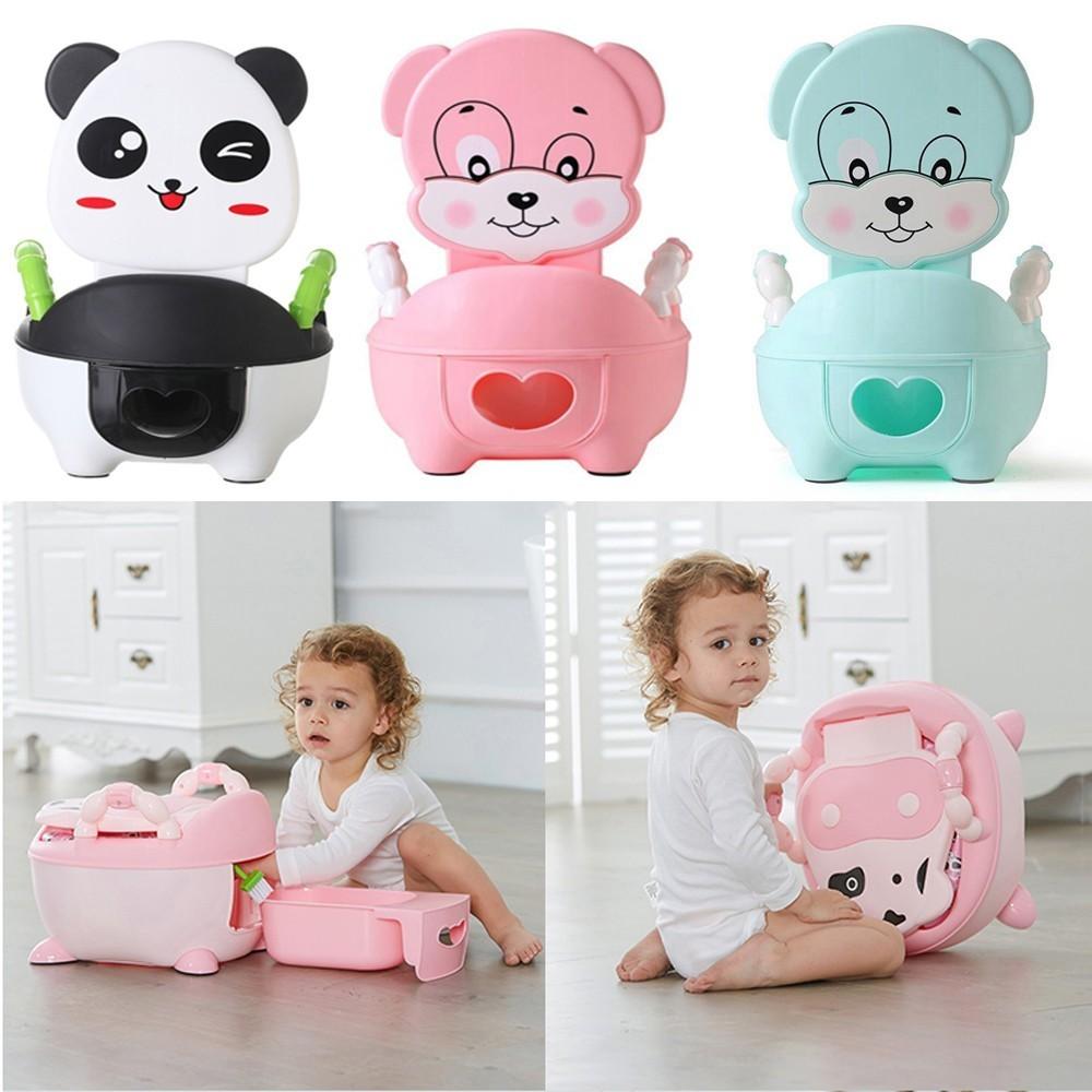 Animal Panda Baby Pot Portable Infant Road Pot Folding Toilet Seat Children's Potty With Soft Pad Portable Baby Potty Training