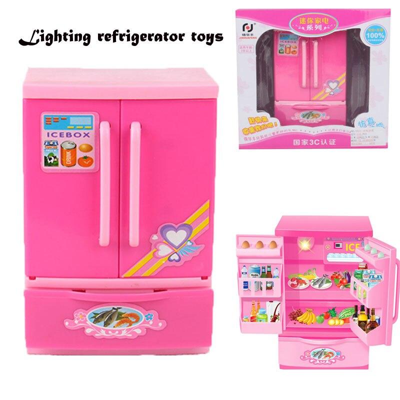 Mini Plastik Mutfak oyuncaklar benzet Buzdolabı Aydınlatma Çocuk Bebek Çocuklar buzdolabı Eğitici Oyuncak evi oyuncaklar Oyna Pretend
