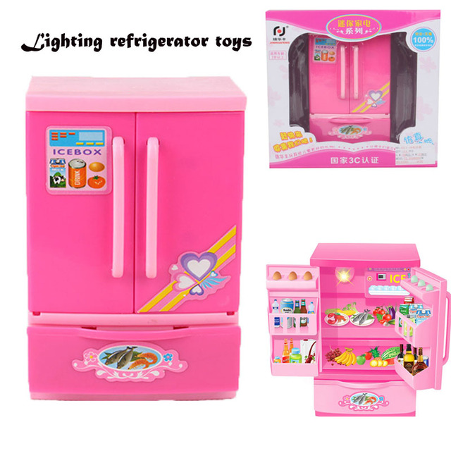 Mini Plastic Kitchen Toys Simulate Refrigerator Lighting