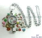 1pc necklace locket+13pcs floating locket living charm Badge hold lanyard Floating Memory locket