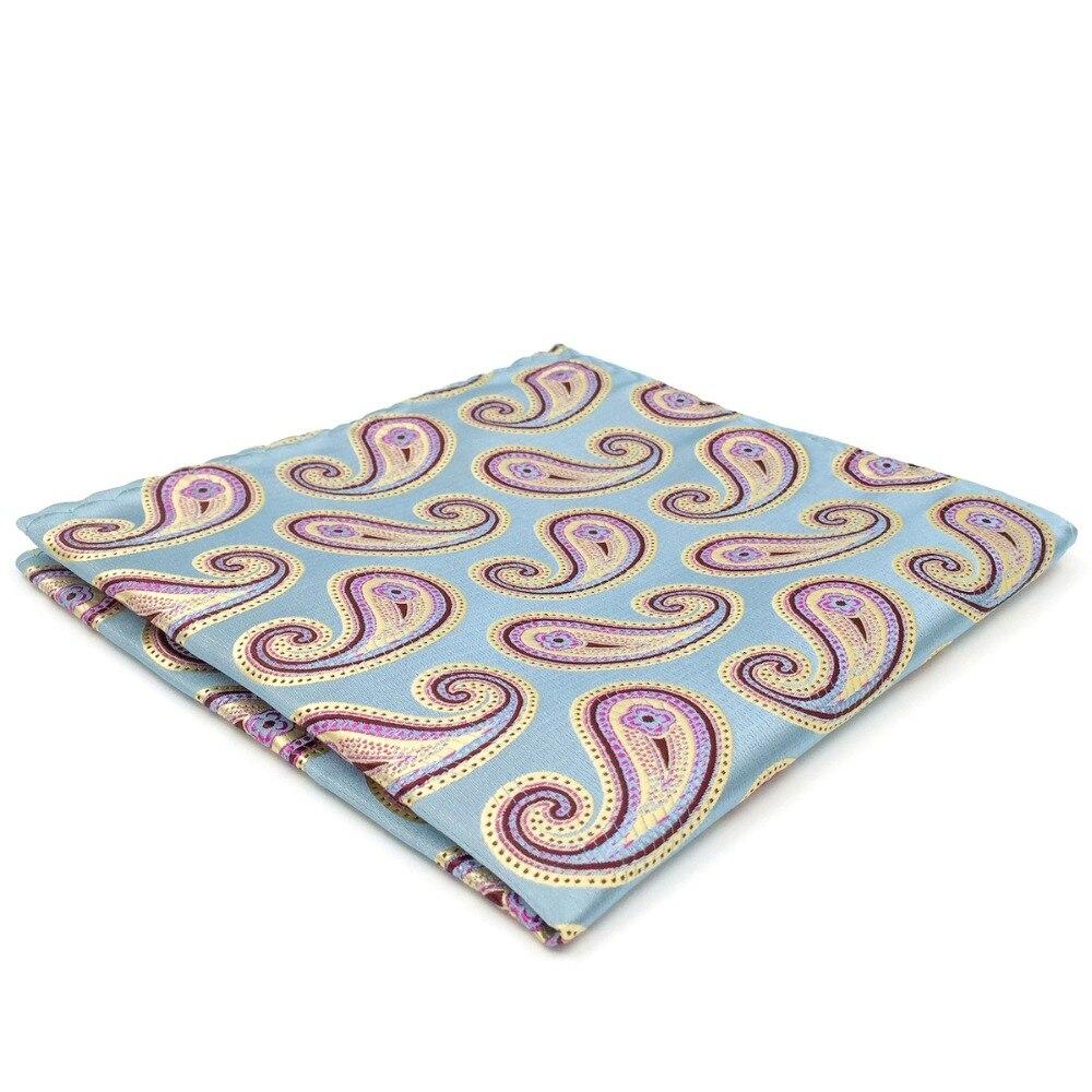 AH01 Paisley Turquoise Pocket Square Silk Fashion Handkerchief Classic Mens Hanky