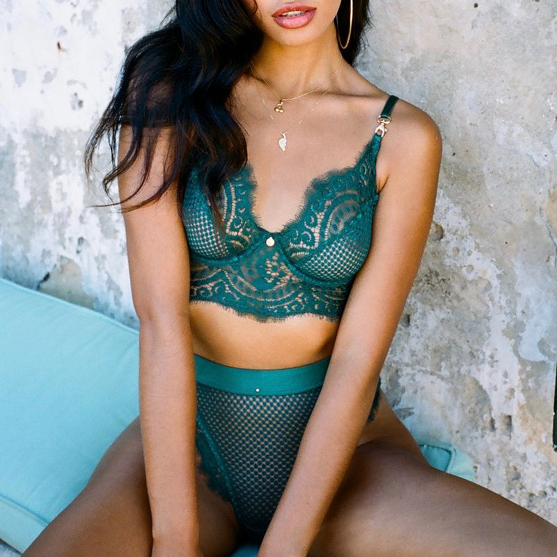 BKLD Sexy Lace Bra Set Push Up Unlined Bralette Lingerie And Bottom Two Pieces Sets Mesh Transparent Women Underwear Set 2