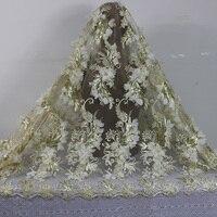2016 Najnowsze złoto Afryki Francuski Koronki Tkaniny netto z cekinami i koralikami, Wysokiej Jakości 3D African wedding Tulle Koronki tkaniny 5 metrów