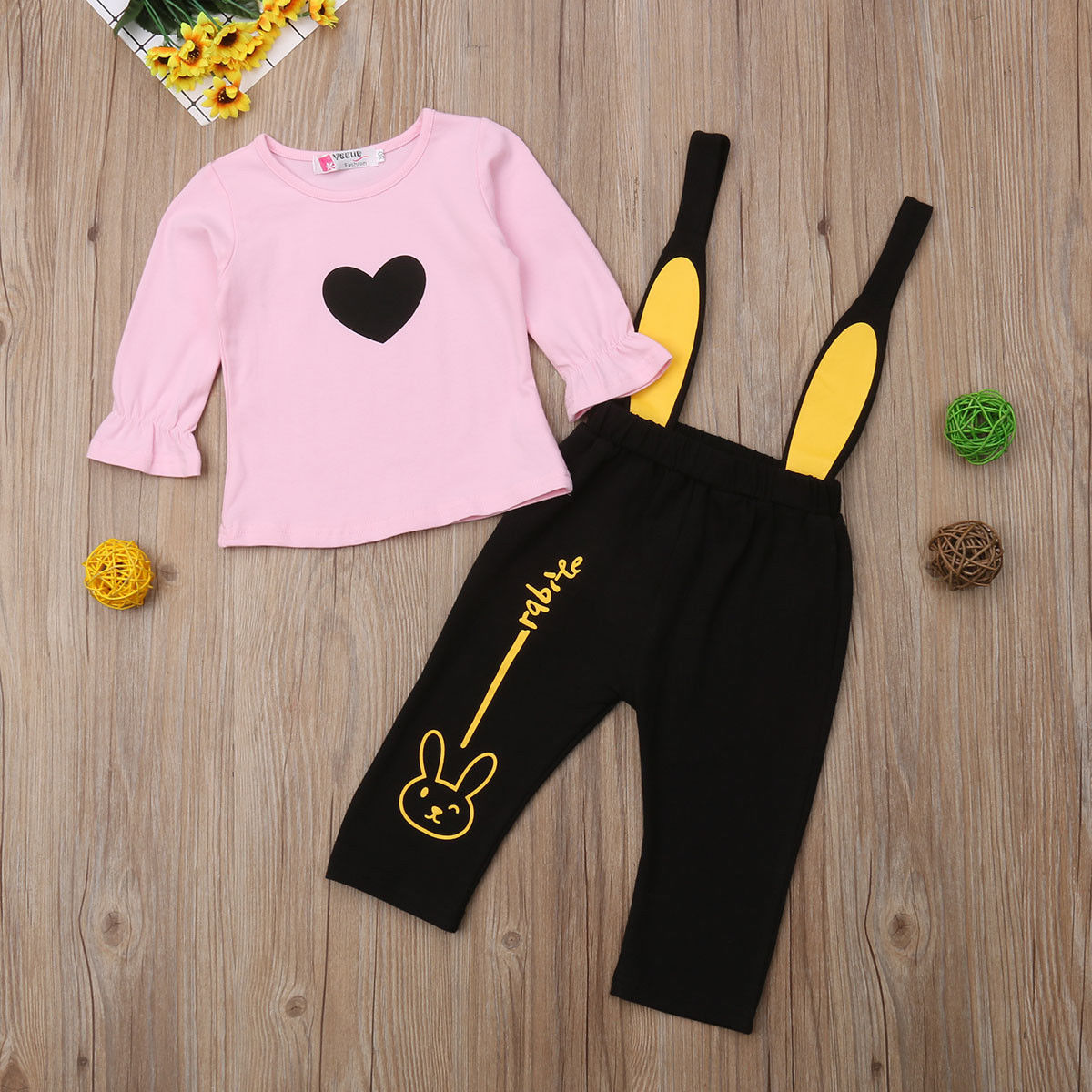 Toddler Baby Girls Long Sleeve T Shirt Heart Print Tops Bib Rabbit Pants Leggings Outfits Clothes Set 2019 2019 in Clothing Sets from Mother Kids