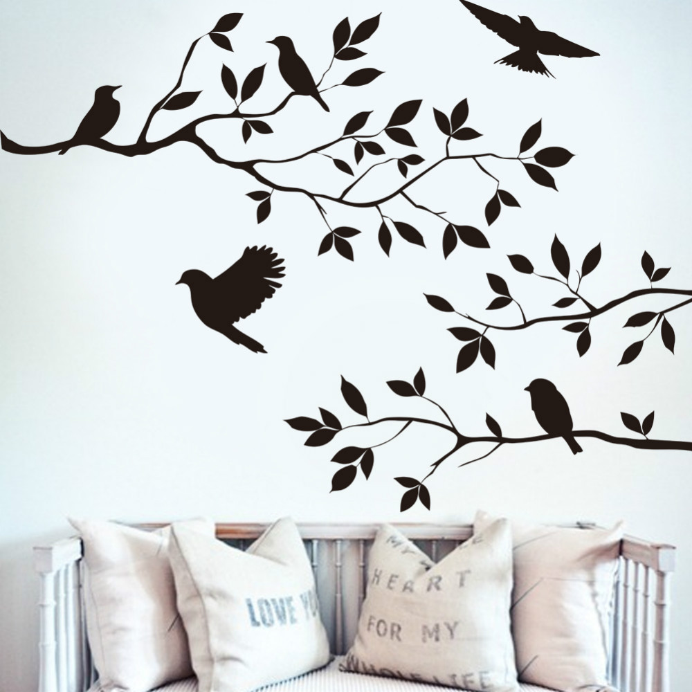 Black Birds Tree Branch Wall Stickers Decals Living Room Bedroom Furniture Decor Mural Art Vintage Wall