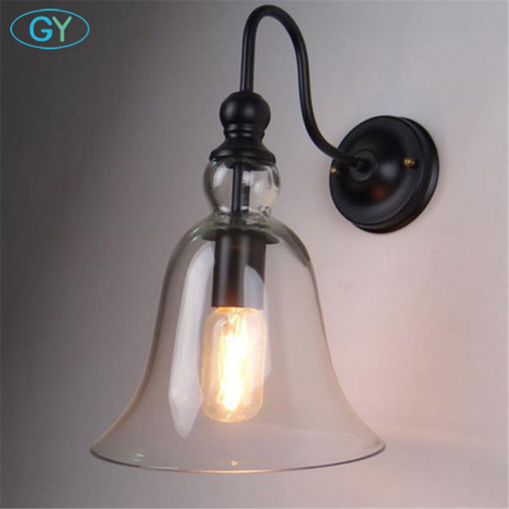 AC100-240V Clear Glass Bell lampshade Wall light fixture Sconce edison incandescent light lustres home Lamp on the wall sconces ac100 240 wall sconces lamp three arms adjustable study restaurant art lights decorative wall light sconce fixture
