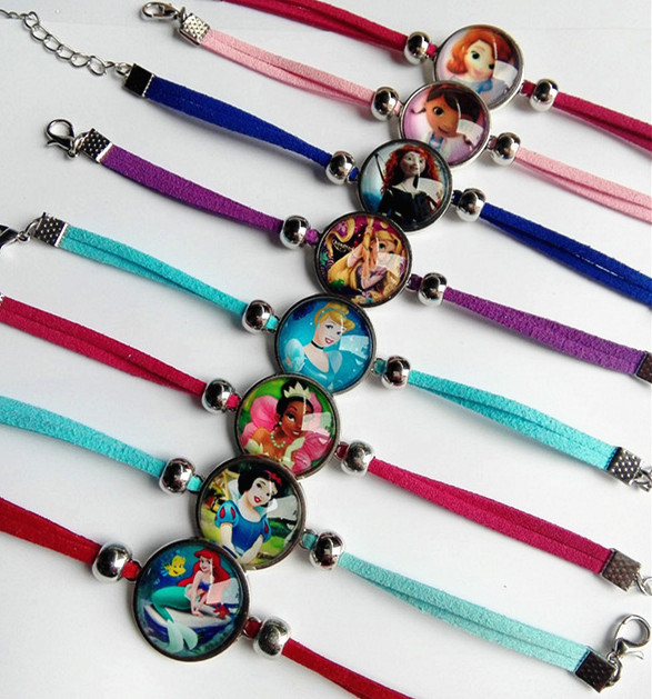 24pcs/lot Princess Snow White, Rapunzel,Princess Tiana,Ariel,Cinderella Merida glass cartoon bracelets children's bracelets-in Charm Bracelets from Jewelry & Accessories