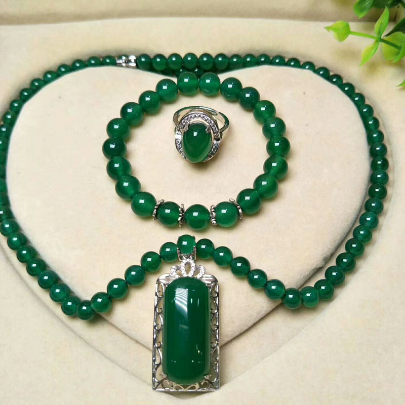yu xin yuan Fine Jewelry Natural Jade Medullary 925 Silver Jewelry Sets Ring Bracelet Necklace Pendant Women Jewelry Party Gifts