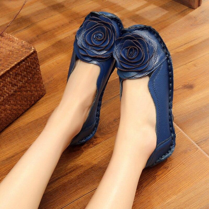 Chaussures Vache Plates Ansl En Souple Ethnique blue Black Dongnanfeng Véritable Appartements red Mocassins 42 Fleur Mère Cuir yellow 8003 35 Dames Femmes Enfiler XwW0TqI