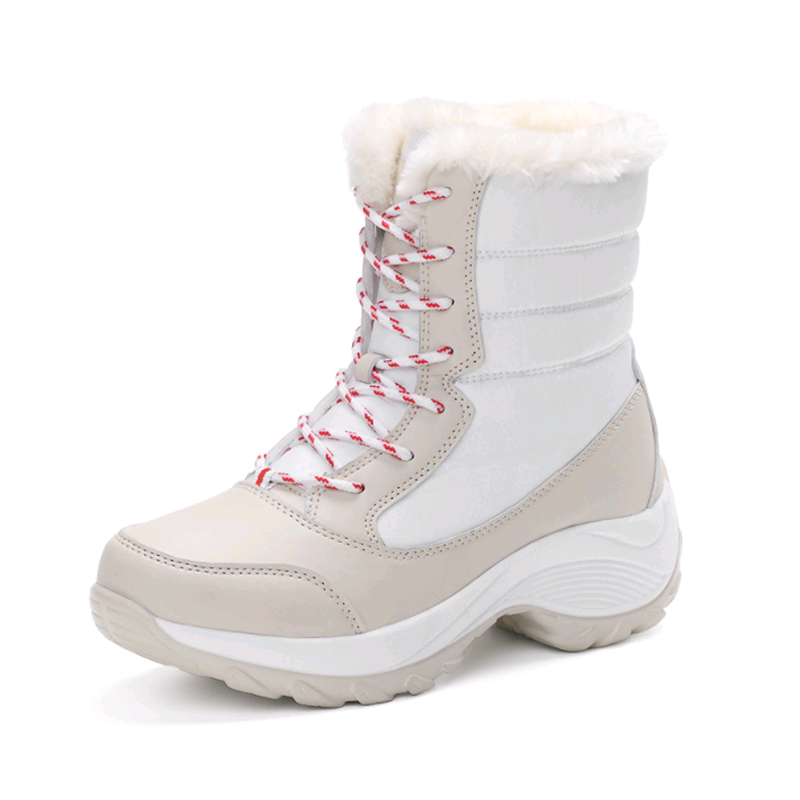Women 39 s Snow Boots Winter Waterproof Plush Warm Ankle Boots 2018 New Fashion Round Head Slope Heel Tie In The Tube Boots Women in Ankle Boots from Shoes