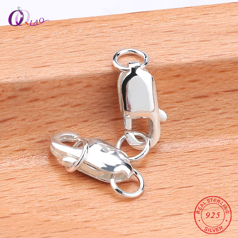 925 Sterling Silver Jewelry Findings Lobster Clasps For Necklace Bracelet With Opening 2 Jump Rings Jewelry accessories 2pcs