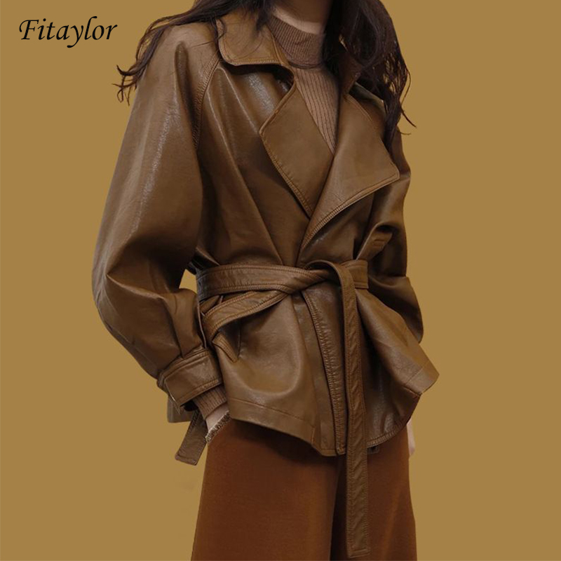 Fitaylor Women Vintage Faux   Leather   Jacket Belt Pocket Brown Black Elegant PU Biker Coat Ladies Basic Jackets Sashes
