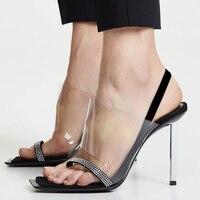 Clear Plastic Women Sandals Stiletto Heels 2109 New Summer Fashion Crystal Slingback Woman Shoes Fashion Ladies High Heels Woman