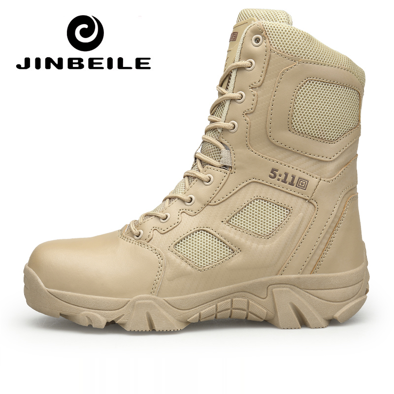 Hiking Boots Men 2018 Army Boots Men' s Tactical Desert Combat High Top Ankle Boots Men Outdoor Work Shoes Men Plus Size 47