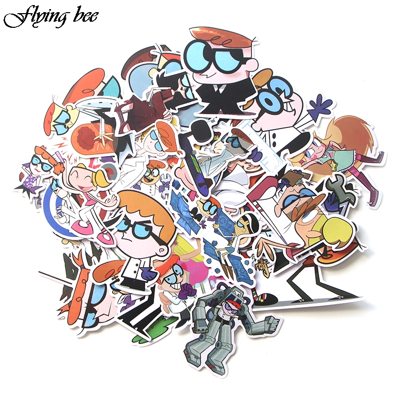 Image 2 - Flyingbee 39 Pcs Dexter's Lab Graffiti Stickers for Kids DIY Luggage Laptop Skateboard Car Bicycle Waterproof Sticker X0027-in Stickers from Consumer Electronics