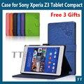 Para Sony Z3 compacto inteligente PU caso capa de couro para Sony Xperia Z3 compacto tablet capa + 3 presentes