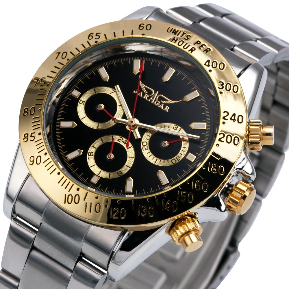 Top Brand Luxury Watches for Men's WINNER Automatic Mechanical Wristwatches Golden Bezel 3 Working Sub-dials Calendar Date Clock winner single album our twenty for random cover release date 2017 08 08