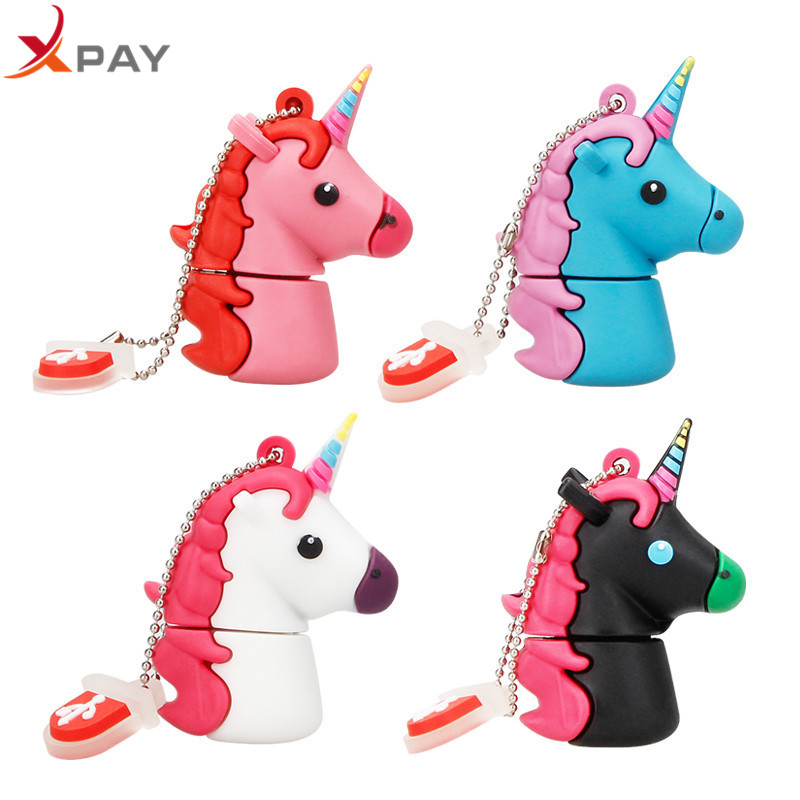 XPAY Usb Flash Drive 2.0 32GB Usb Stick 64GB 128GB Pen Drive Waterproof Cartoon Pendrive 4G 8G 16GB cute Unicorn free shipping-in USB Flash Drives from Computer & Office
